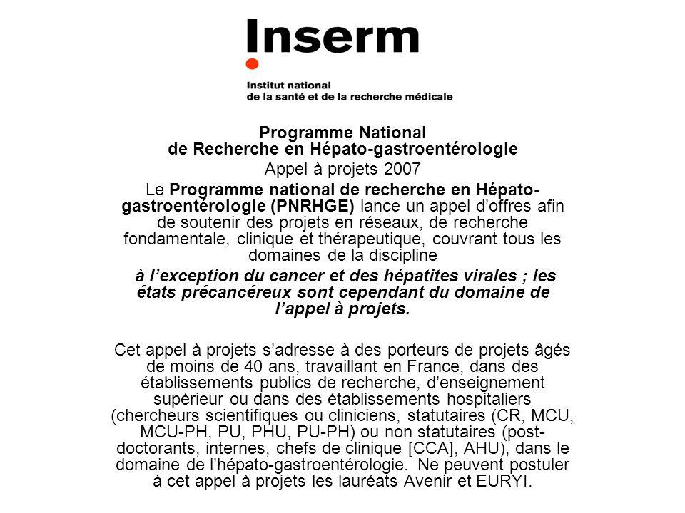 Programme National de Recherche en Hépato-gastroentérologie