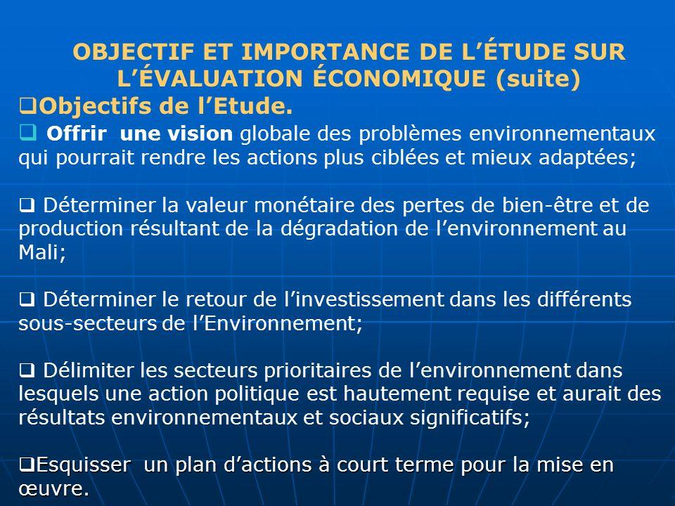 OBJECTIF ET IMPORTANCE DE L'ÉTUDE SUR L'ÉVALUATION ÉCONOMIQUE (suite)
