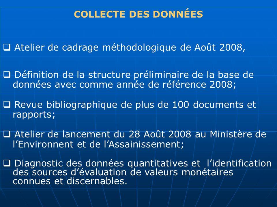 COLLECTE DES DONNÉESAtelier de cadrage méthodologique de Août 2008, Définition de la structure préliminaire de la base de.