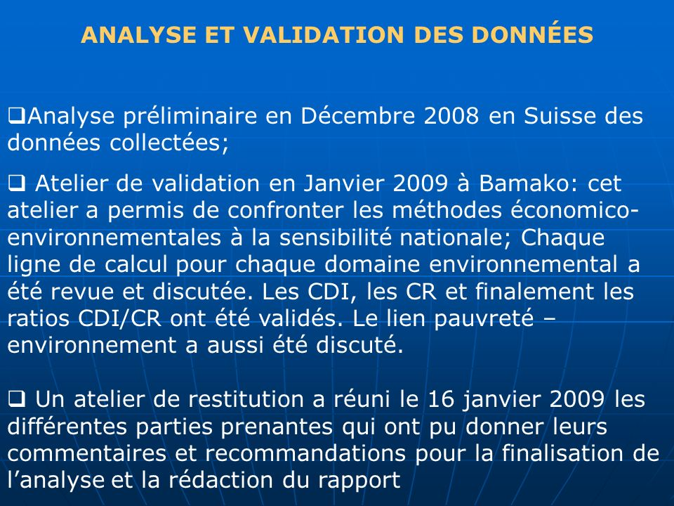 ANALYSE ET VALIDATION DES DONNÉES