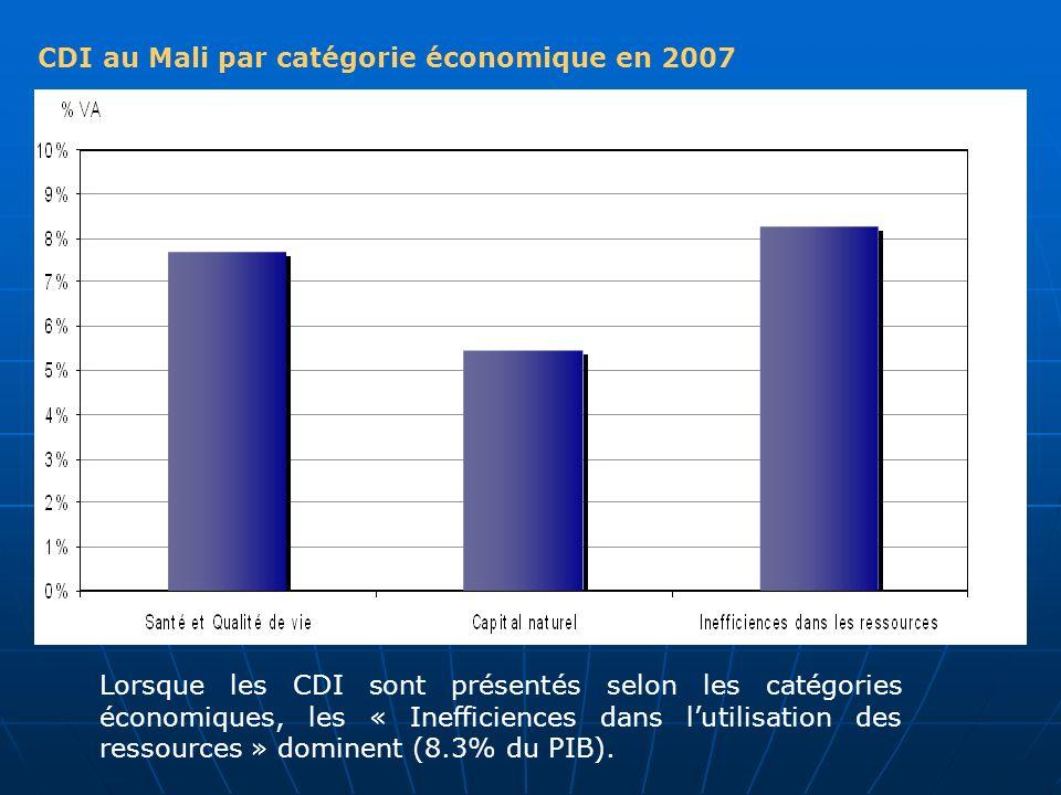 CDI au Mali par catégorie économique en 2007