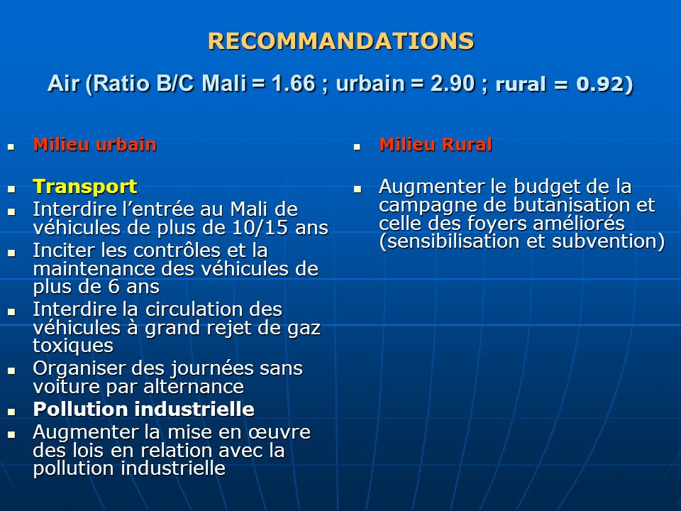 RECOMMANDATIONS Air (Ratio B/C Mali = 1. 66 ; urbain = 2