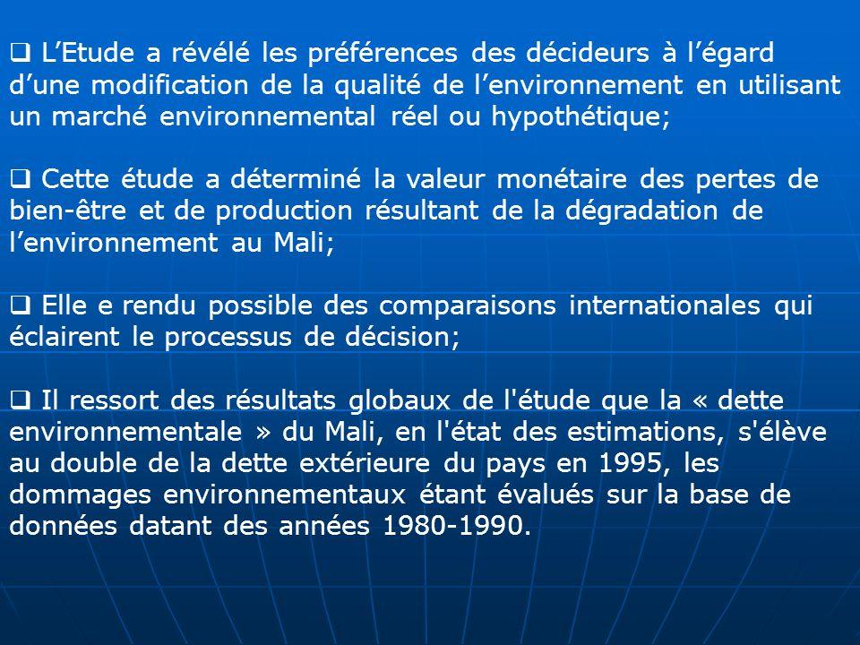 L'Etude a révélé les préférences des décideurs à l'égard d'une modification de la qualité de l'environnement en utilisant un marché environnemental réel ou hypothétique;