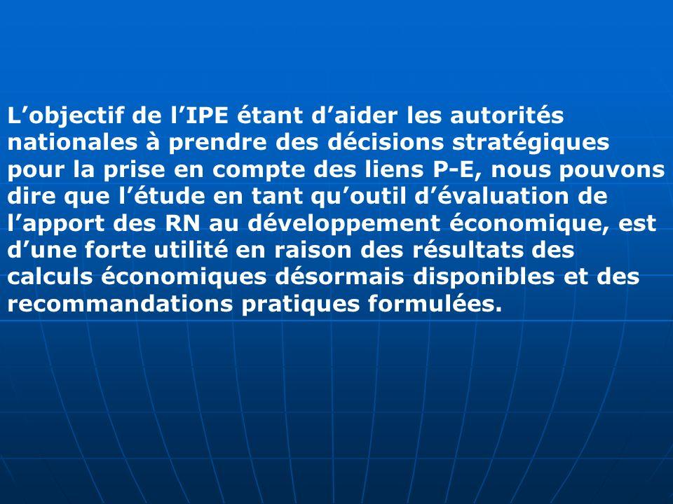 L'objectif de l'IPE étant d'aider les autorités nationales à prendre des décisions stratégiques pour la prise en compte des liens P-E, nous pouvons dire que l'étude en tant qu'outil d'évaluation de l'apport des RN au développement économique, est d'une forte utilité en raison des résultats des calculs économiques désormais disponibles et des recommandations pratiques formulées.