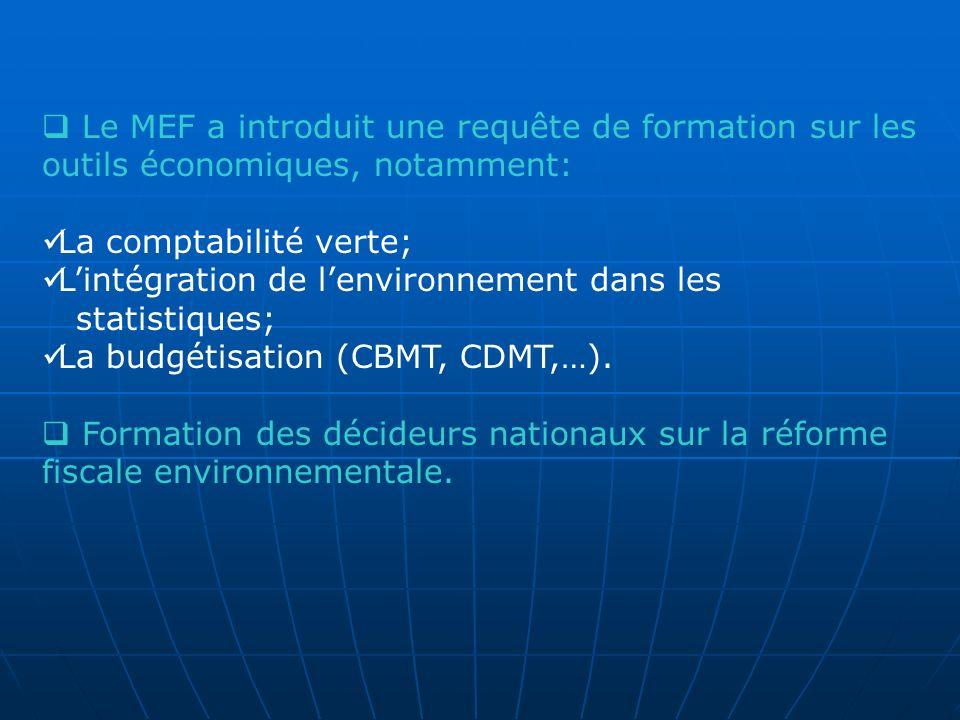 Le MEF a introduit une requête de formation sur les outils économiques, notamment: