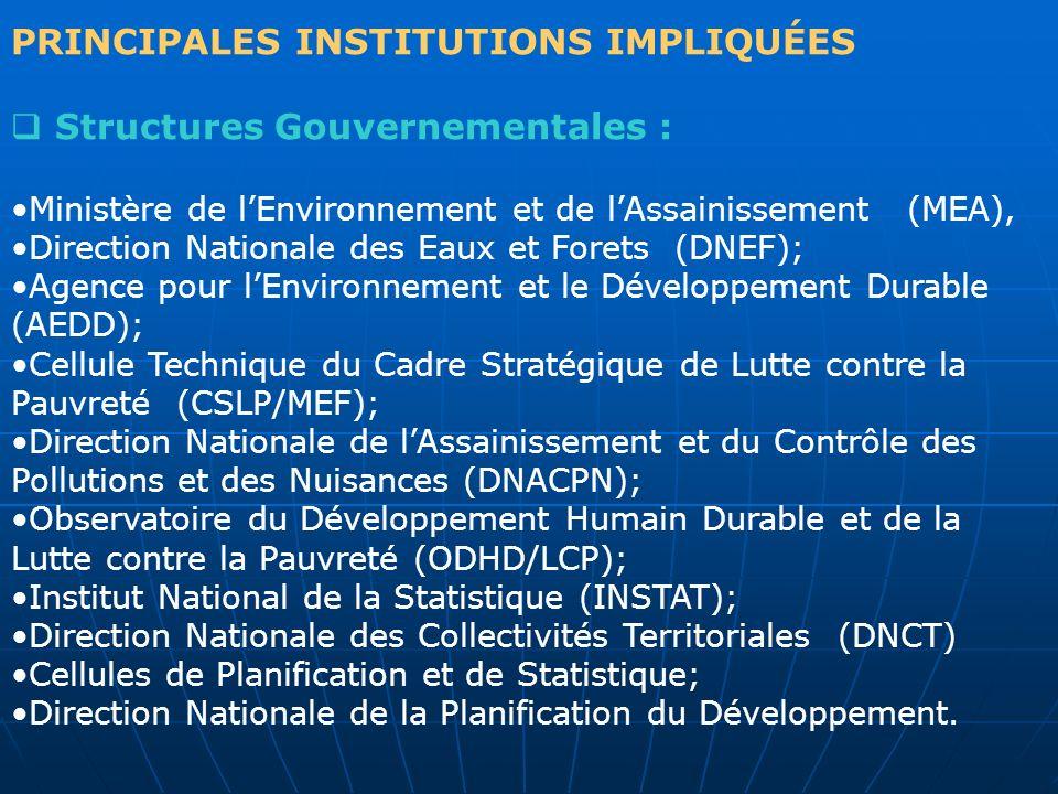 PRINCIPALES INSTITUTIONS IMPLIQUÉES Structures Gouvernementales :