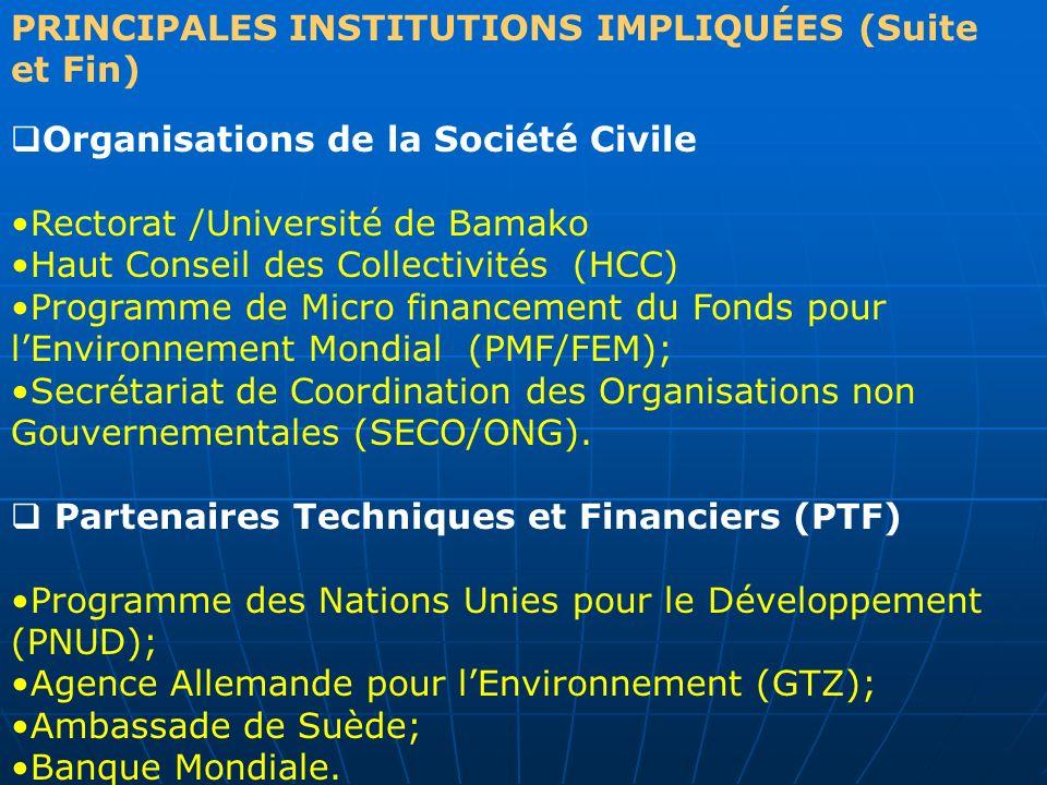 PRINCIPALES INSTITUTIONS IMPLIQUÉES (Suite et Fin)