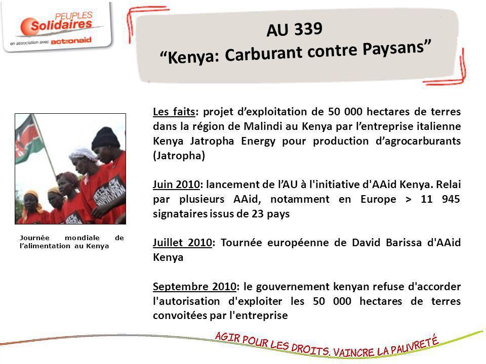 AU 339 Kenya: Carburant contre Paysans