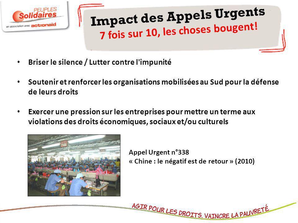Impact des Appels Urgents 7 fois sur 10, les choses bougent!