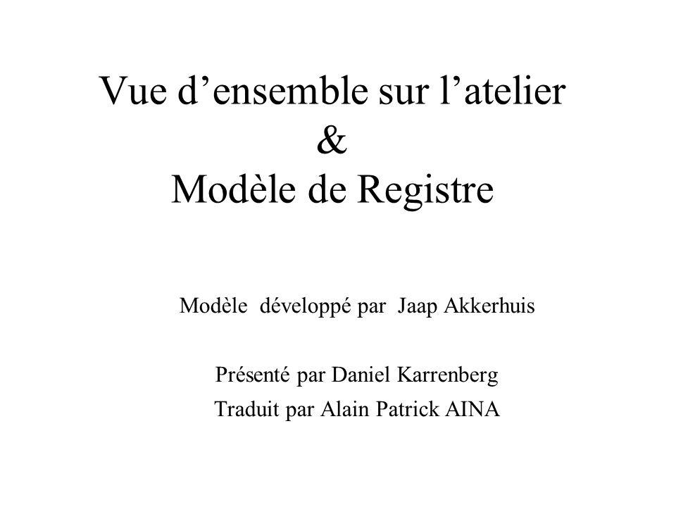 Vue d'ensemble sur l'atelier & Modèle de Registre