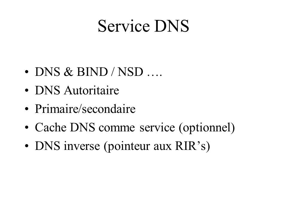 Service DNS DNS & BIND / NSD …. DNS Autoritaire Primaire/secondaire