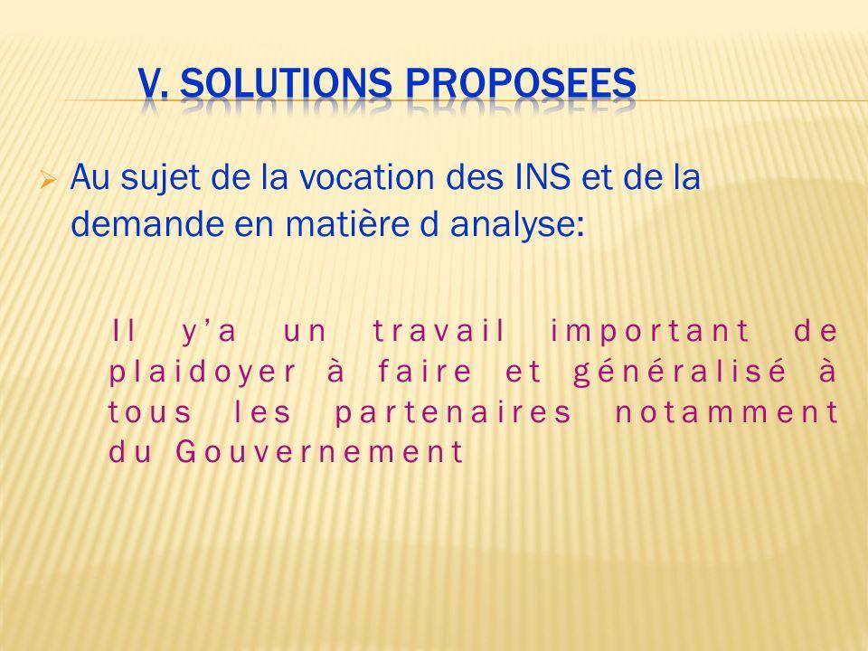 V. Solutions proposees Au sujet de la vocation des INS et de la demande en matière d analyse: