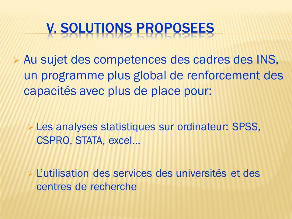 V. Solutions proposees Au sujet des competences des cadres des INS, un programme plus global de renforcement des capacités avec plus de place pour: