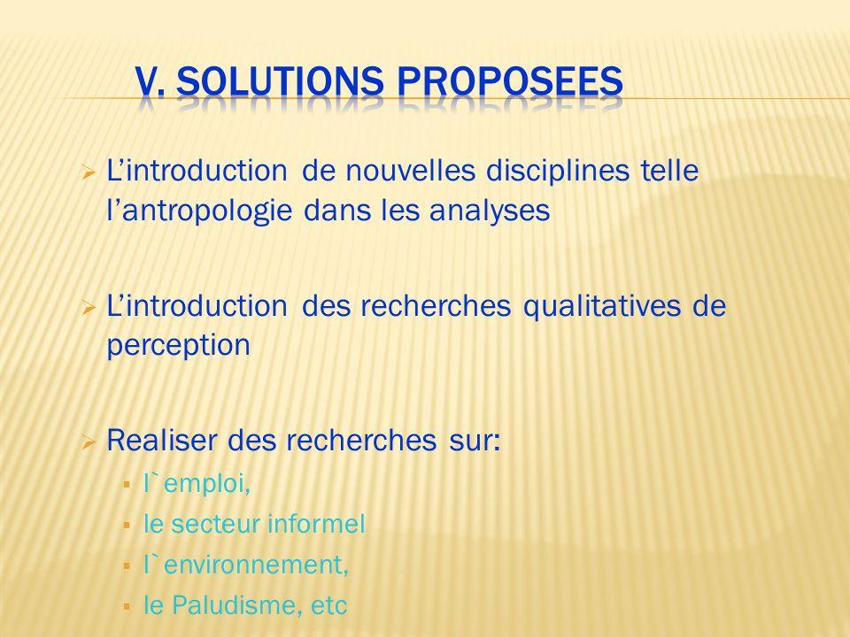 V. Solutions proposees L'introduction de nouvelles disciplines telle l'antropologie dans les analyses.