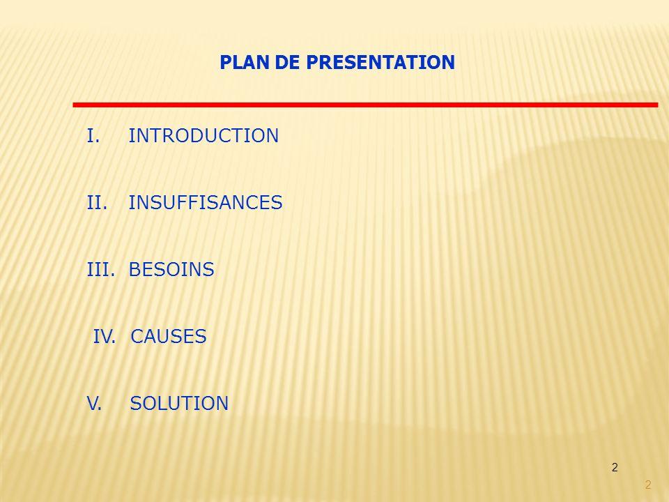 PLAN DE PRESENTATION INTRODUCTION INSUFFISANCES BESOINS IV. CAUSES