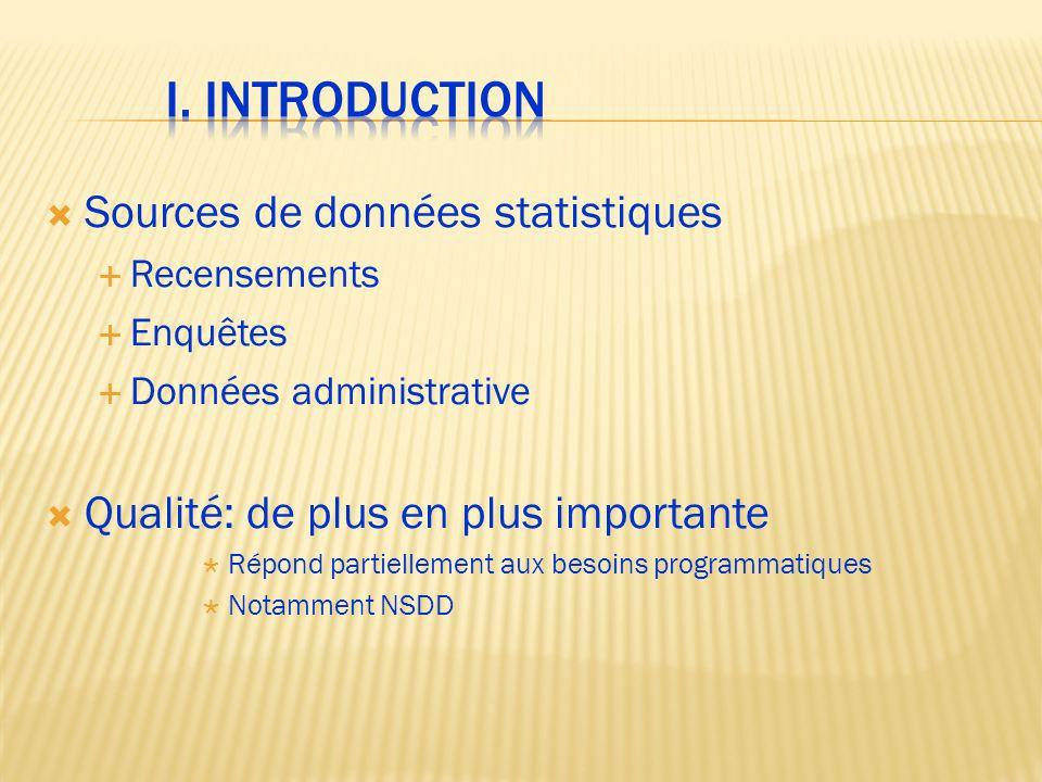 I. INTRODUCTION Sources de données statistiques