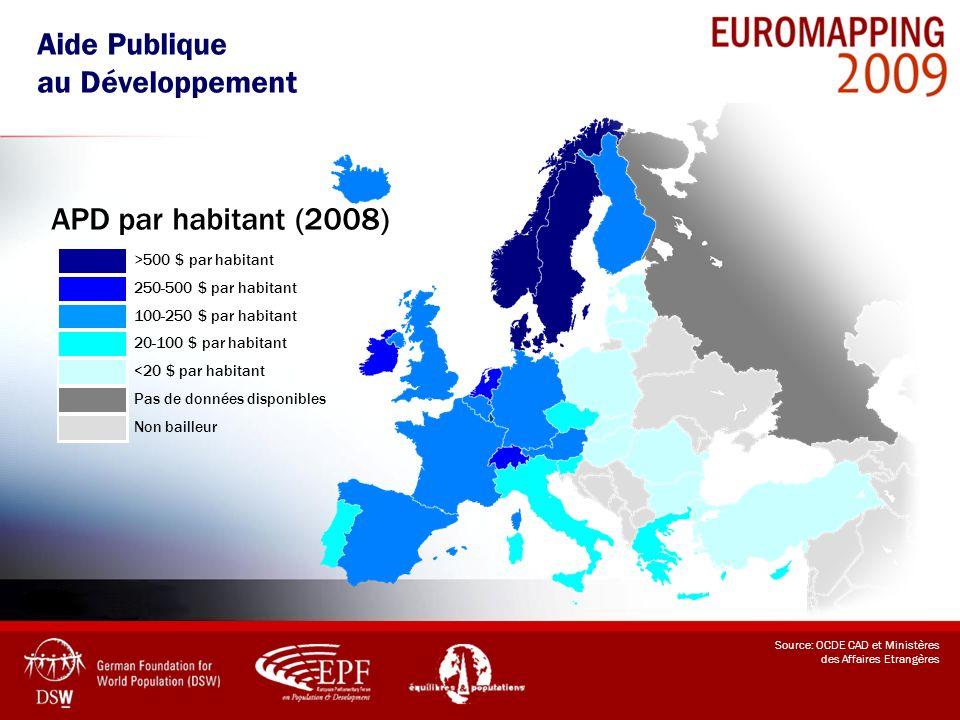 Aide Publique au Développement APD par habitant (2008)