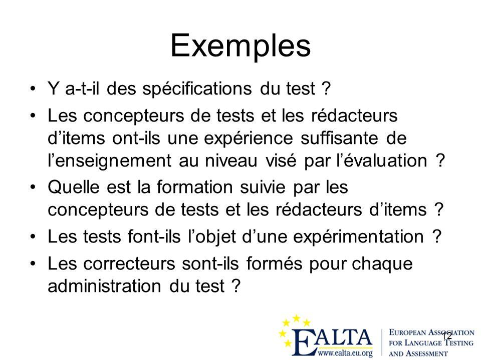 Exemples Y a-t-il des spécifications du test