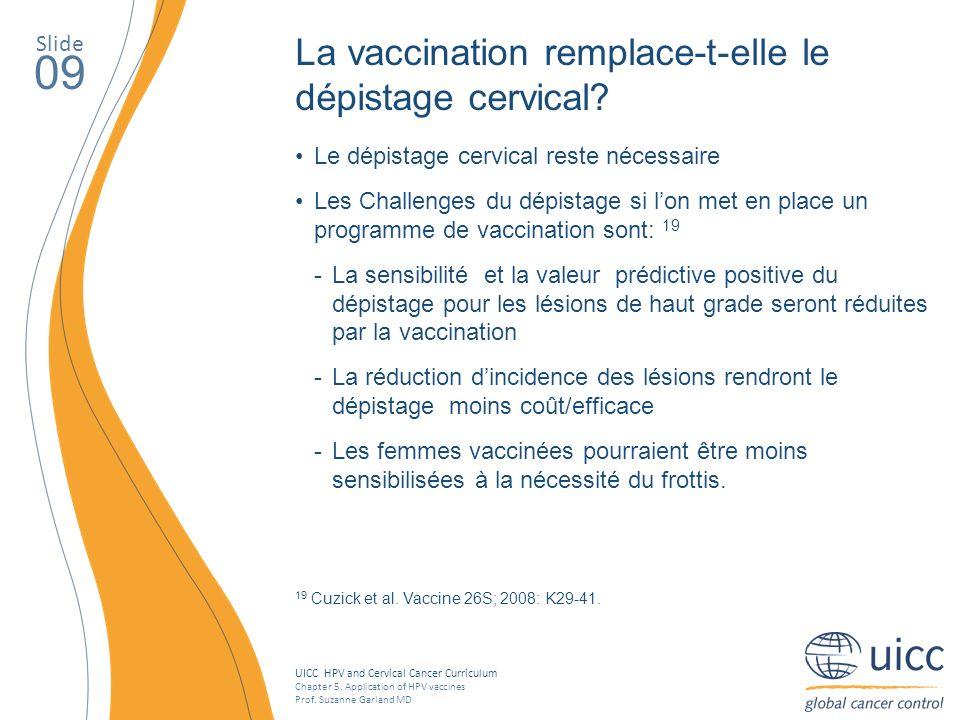 09 La vaccination remplace-t-elle le dépistage cervical Slide