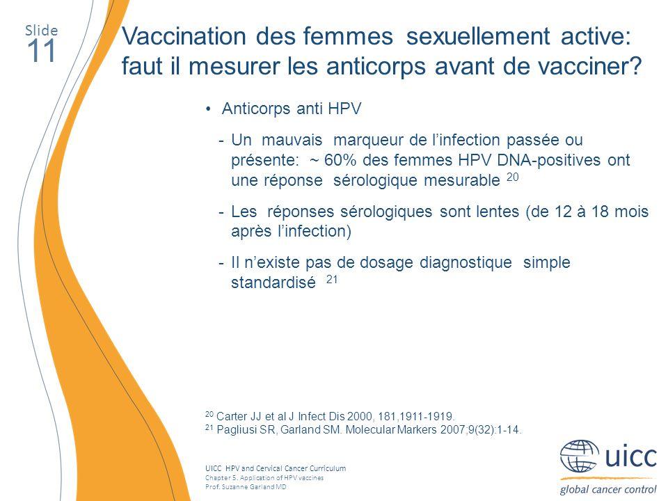 Slide Vaccination des femmes sexuellement active: faut il mesurer les anticorps avant de vacciner