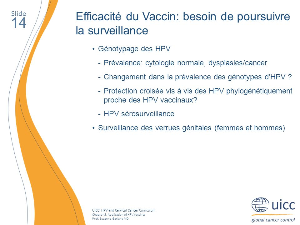 14 Efficacité du Vaccin: besoin de poursuivre la surveillance Slide