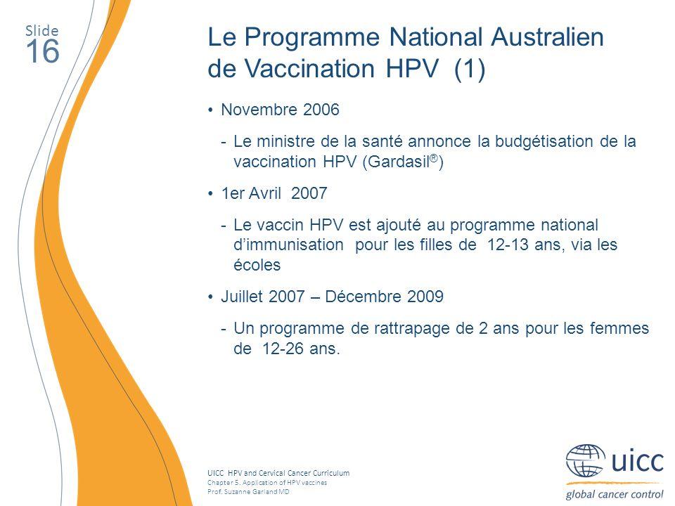 16 Le Programme National Australien de Vaccination HPV (1) Slide