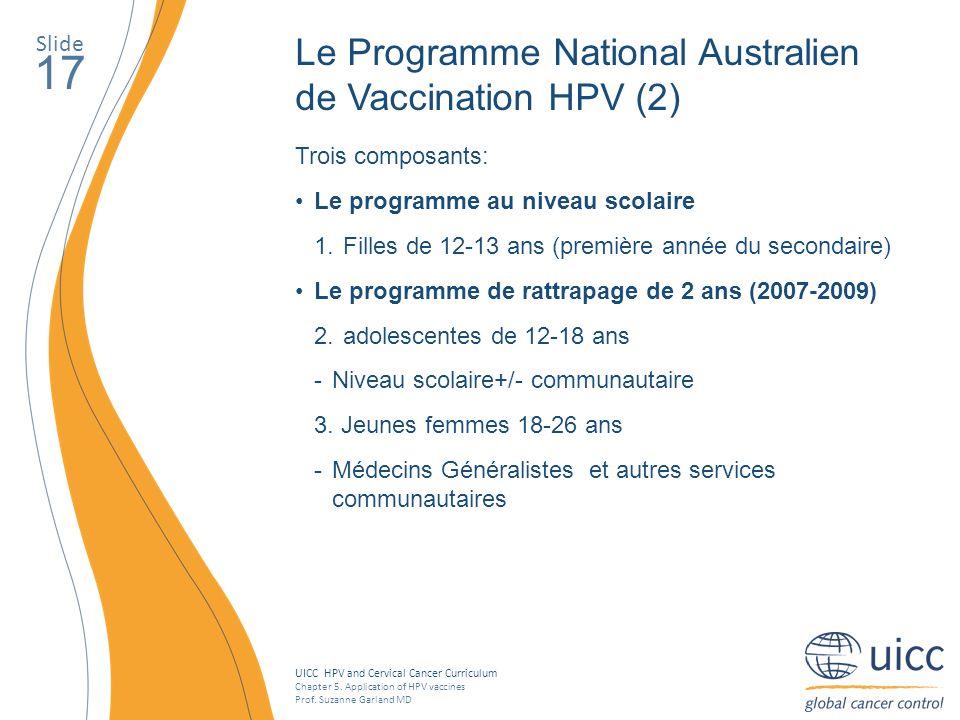 17 Le Programme National Australien de Vaccination HPV (2) Slide