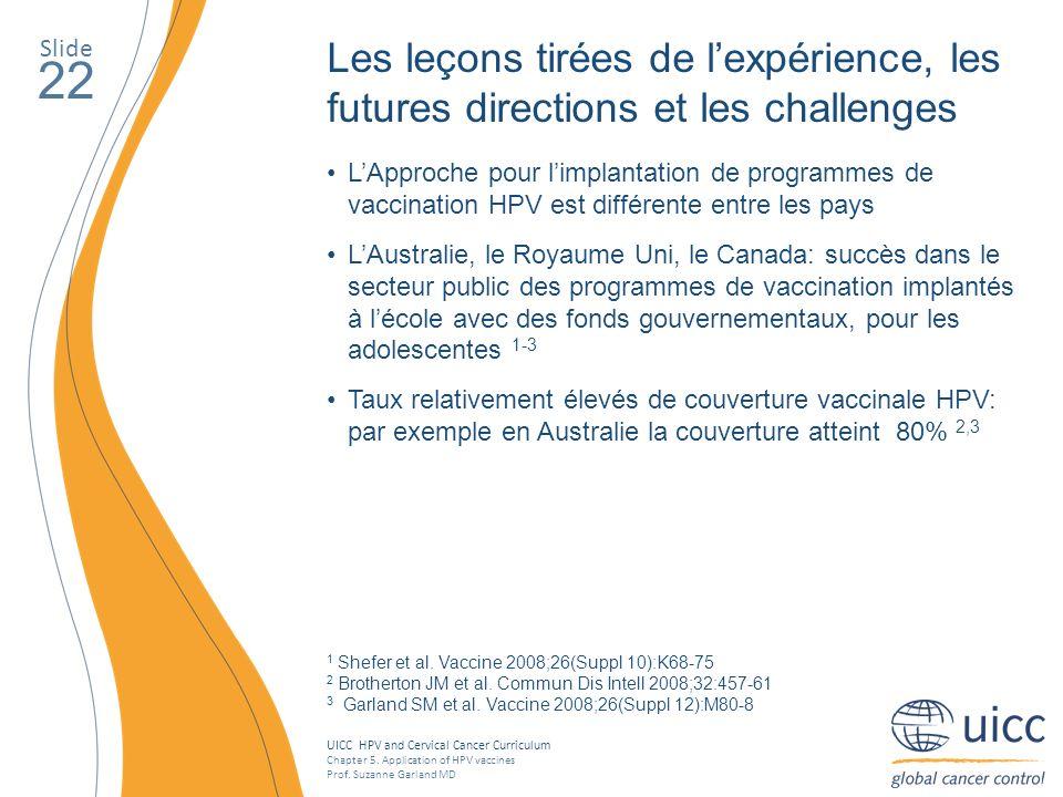 Slide Les leçons tirées de l'expérience, les futures directions et les challenges. 22.