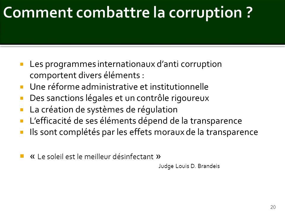 Comment combattre la corruption