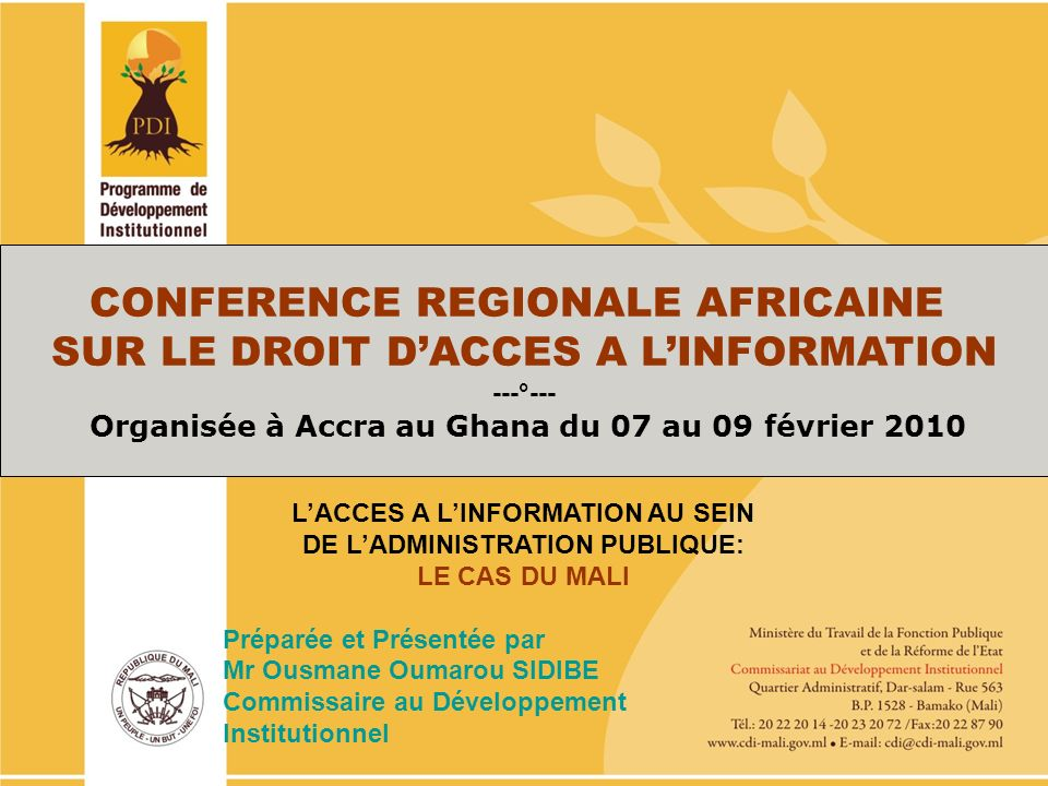 PO/PDI 2010-2013 CONFERENCE REGIONALE AFRICAINE