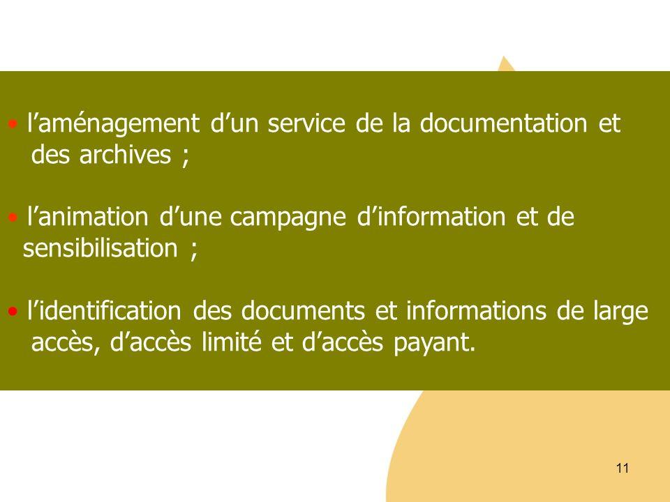 l'aménagement d'un service de la documentation et