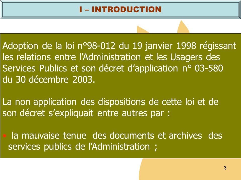Adoption de la loi n°98-012 du 19 janvier 1998 régissant