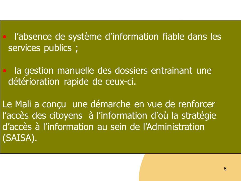 l'absence de système d'information fiable dans les