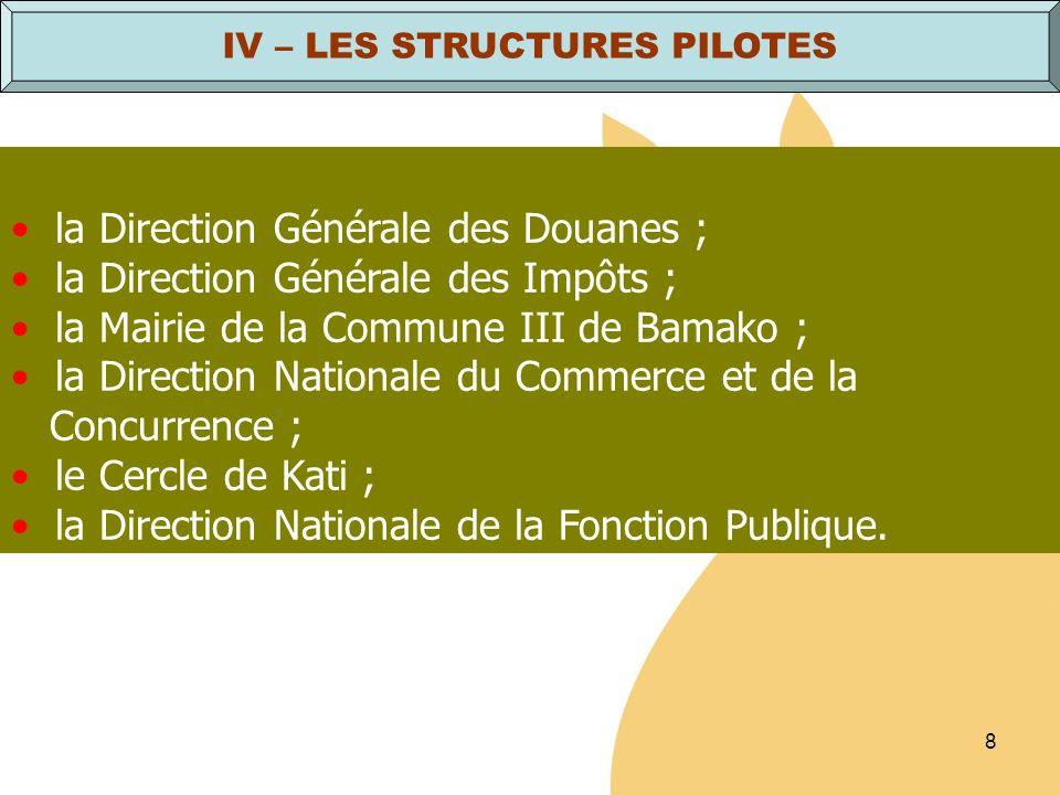 IV – LES STRUCTURES PILOTES