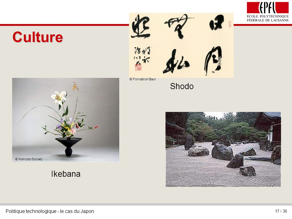 Culture © Fondation Baur Shodo © Ikenobo Society Ikebana