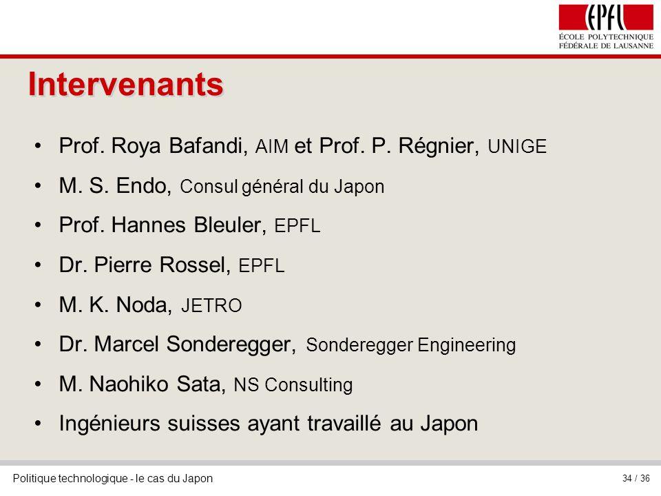 Intervenants Prof. Roya Bafandi, AIM et Prof. P. Régnier, UNIGE