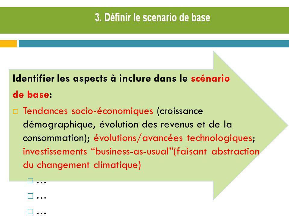 Identifier les aspects à inclure dans le scénario de base:
