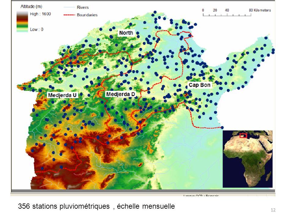 356 stations pluviométriques , échelle mensuelle