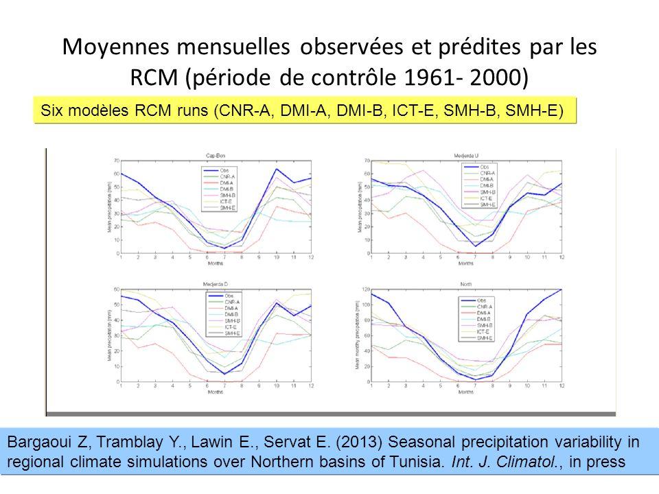 Moyennes mensuelles observées et prédites par les RCM (période de contrôle 1961- 2000)