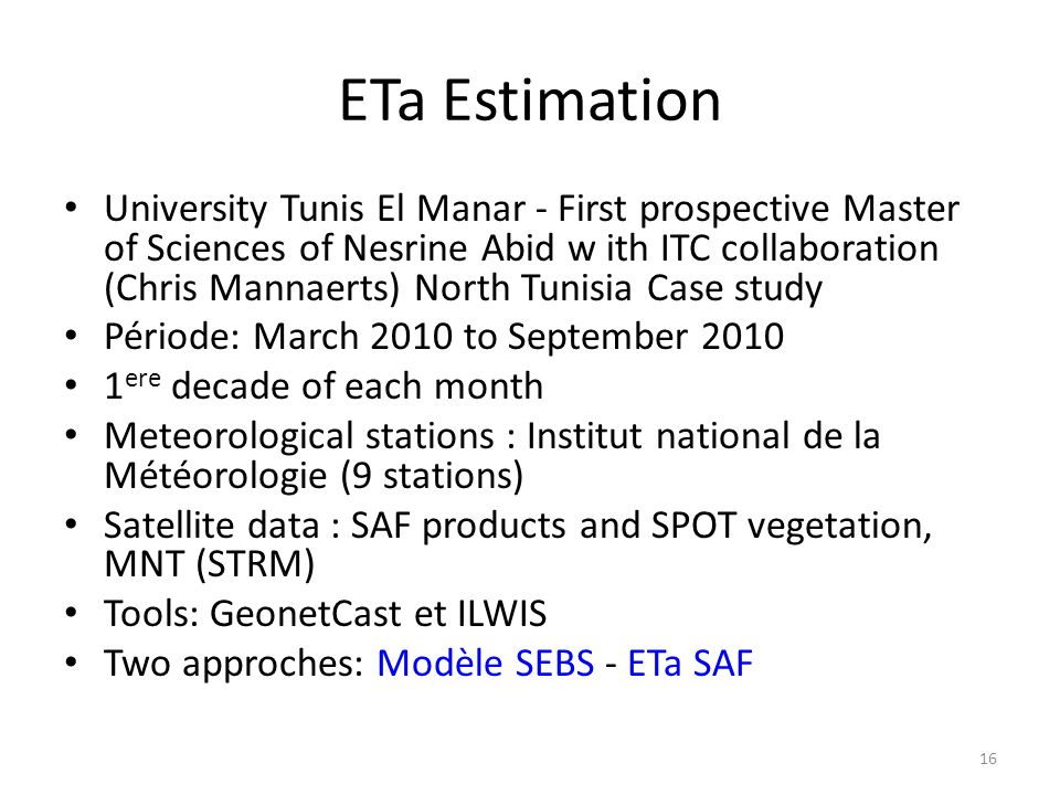 ETa Estimation