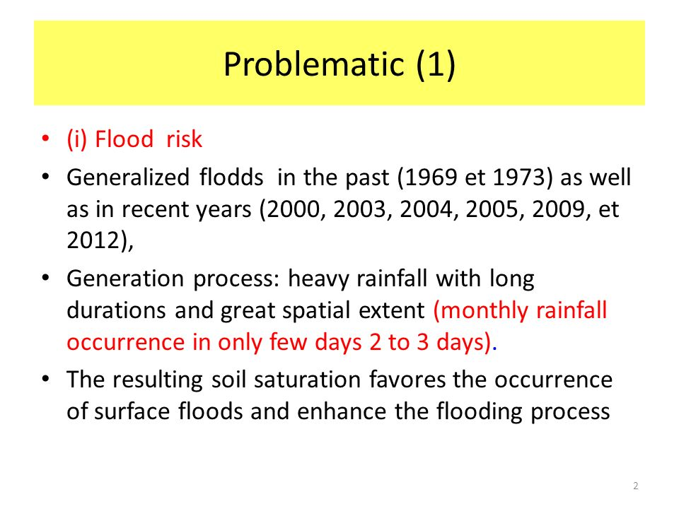 Problematic (1) (i) Flood risk