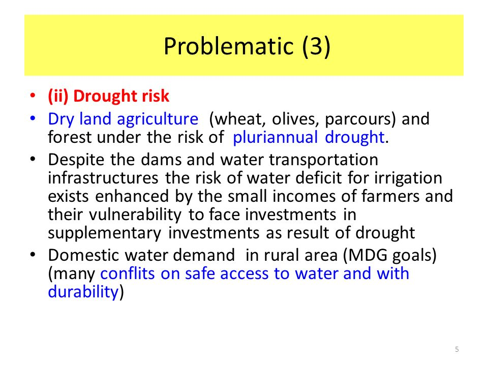 Problematic (3) (ii) Drought risk