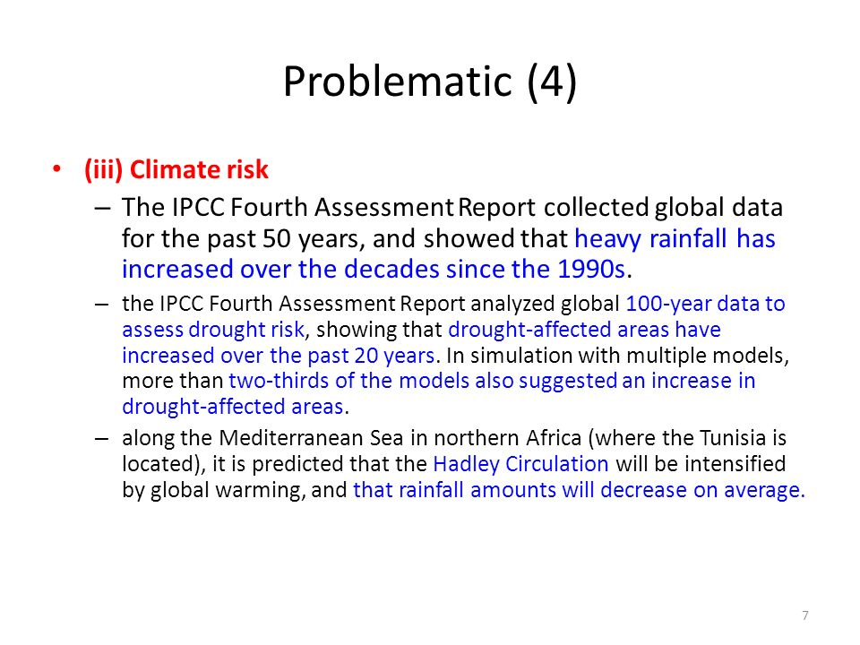 Problematic (4) (iii) Climate risk