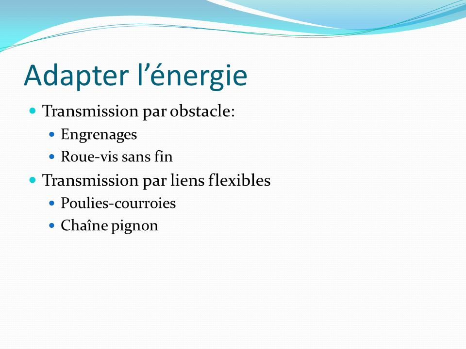 Adapter l'énergie Transmission par obstacle: