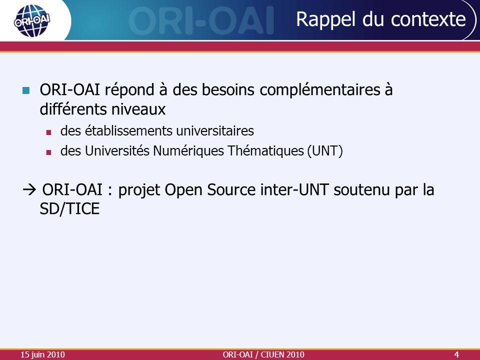 Rappel du contexte ORI-OAI répond à des besoins complémentaires à différents niveaux. des établissements universitaires.