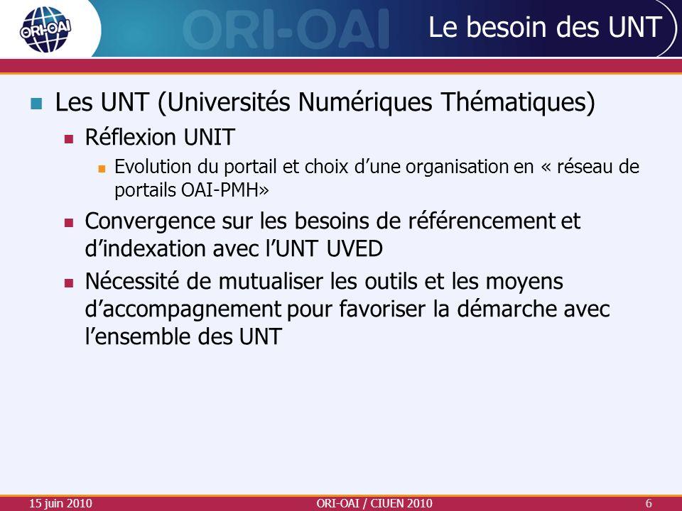 Le besoin des UNT Les UNT (Universités Numériques Thématiques)