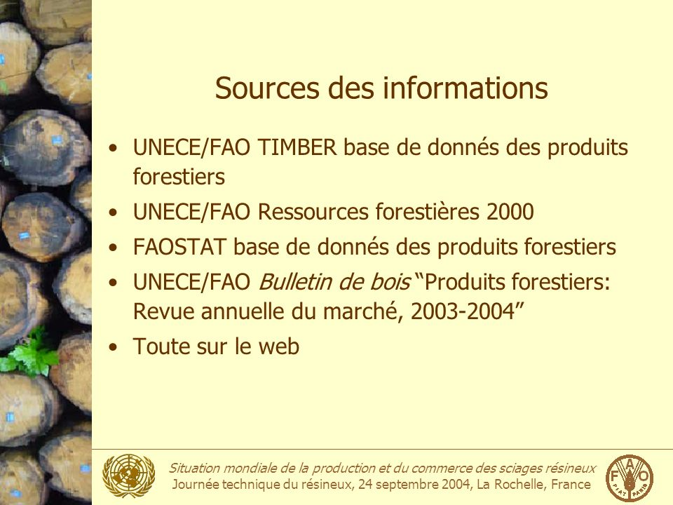 Sources des informations