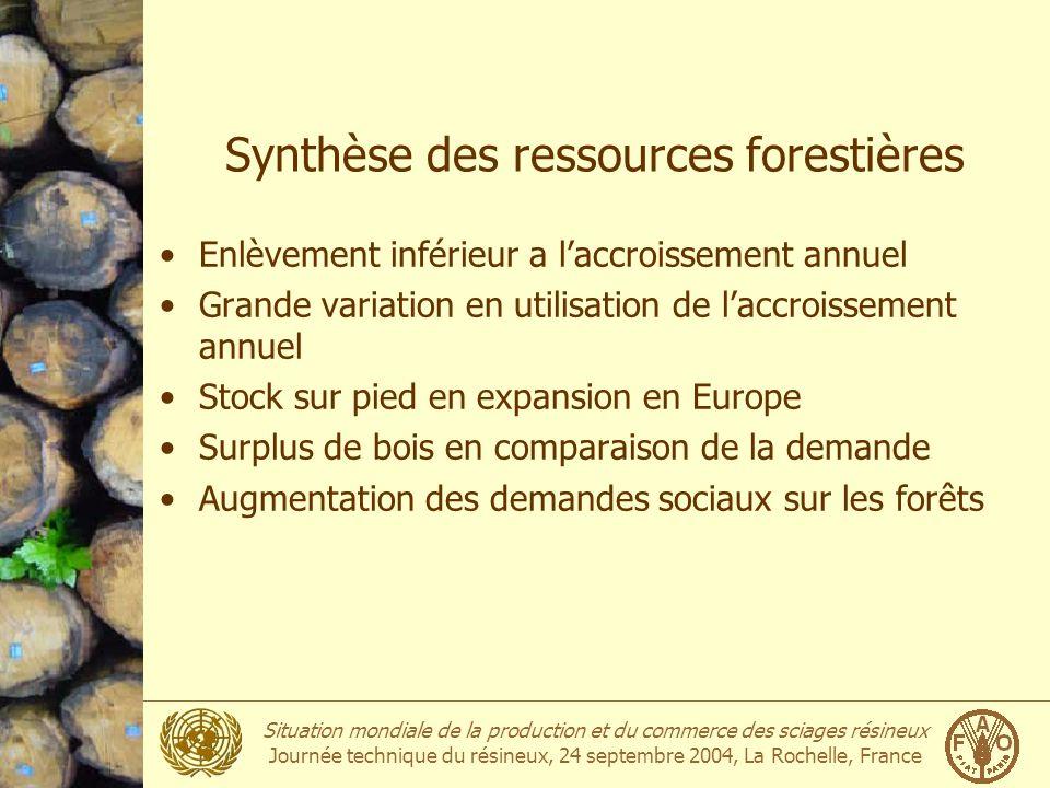 Synthèse des ressources forestières