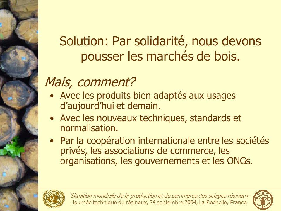 Solution: Par solidarité, nous devons pousser les marchés de bois.