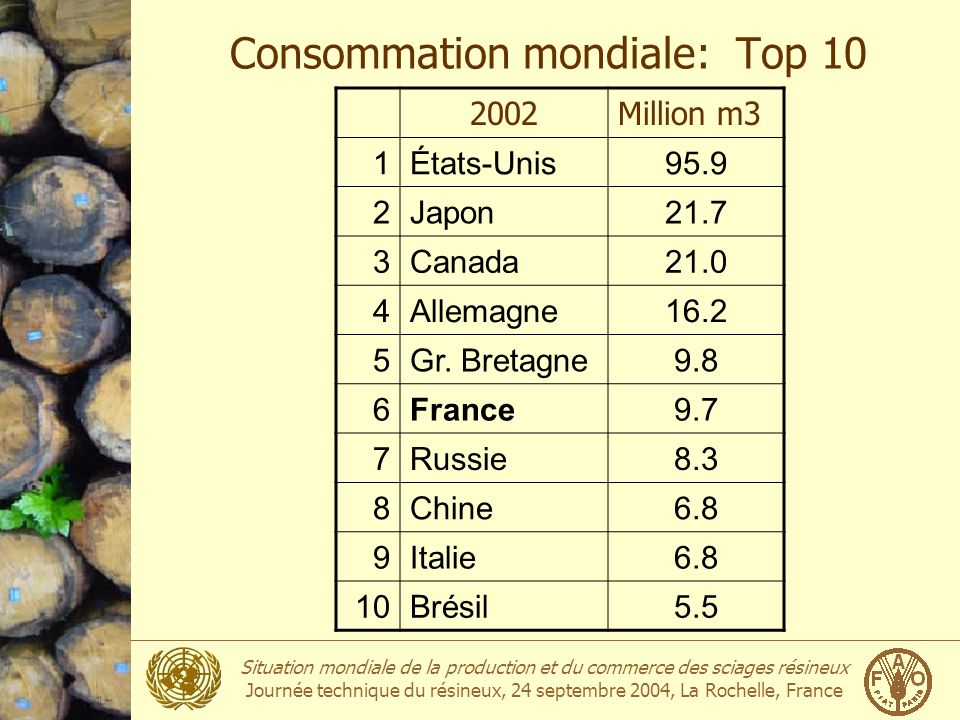 Consommation mondiale: Top 10